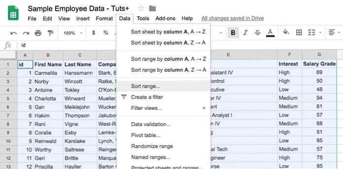 Modul de sortare și filtrare a foilor de calcul tabelar în foile Google